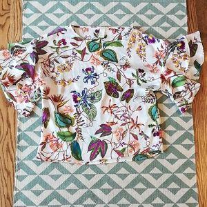 NWOT H&M Ruffle Sleeve Floral Print Blouse Sz 2